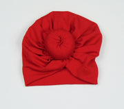 4 pieces Turban Beanie Front Knot 100% Cotton Baby Hat,Red, Pink,Green, Yellow  Fits 3-6 months old.