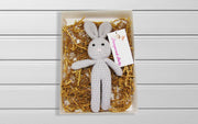 Knitted Stuffed Bunny Rabbit Plush Baby Sleep Toy Newborn Present 100% Handmade