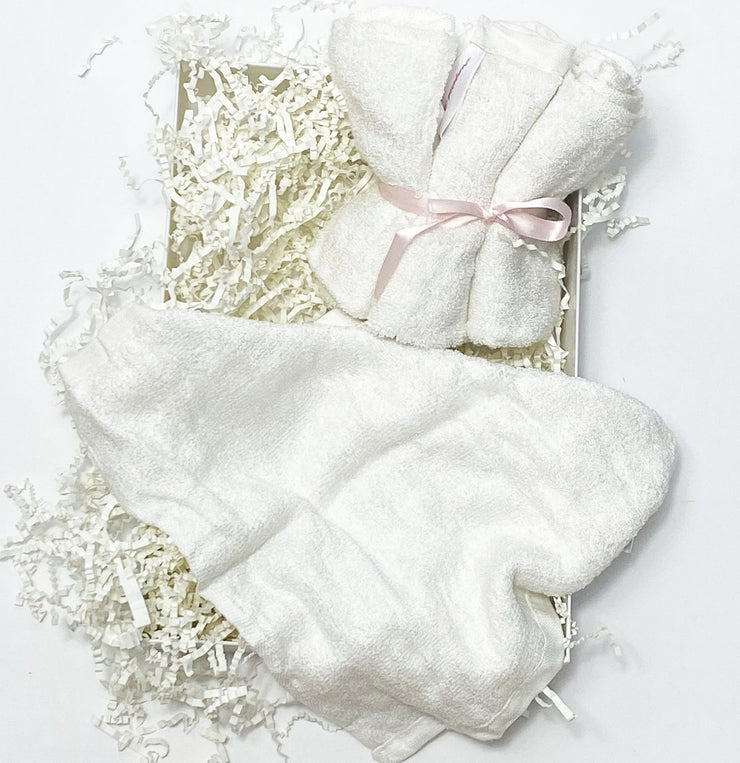 4 pack of Baby Washcloths Organic - Soft White Cotton Blend Bamboo Washcloths - Thick Ultra Absorbent Baby Washcloths for Newborn Sensitive Skin - Natural, Reusable, Hypoallergenic - 4X Wash Clothes for Baby