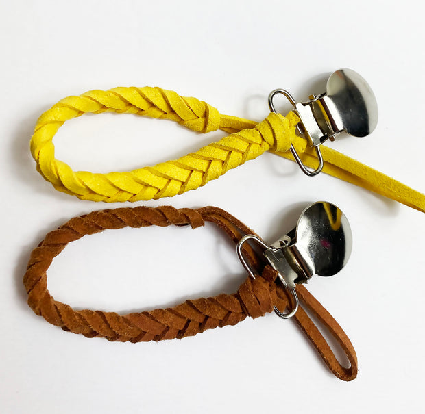 Braided Leather Pacifier Clip , Brown, yellow and black