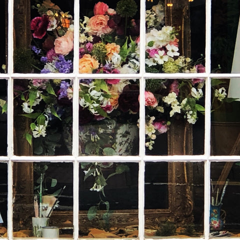 foral window display for Market Harborough in Bloom