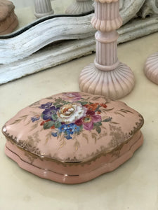 Limoge diamond shaped hand-painted porcelain trinket box and candlestick