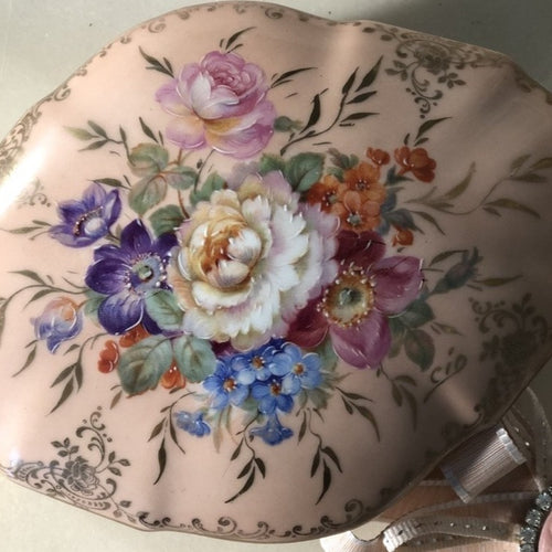 Limoge diamond shaped hand-painted porcelain trinket box