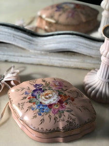 Limoge hand painted porcelain trinket box in mirror