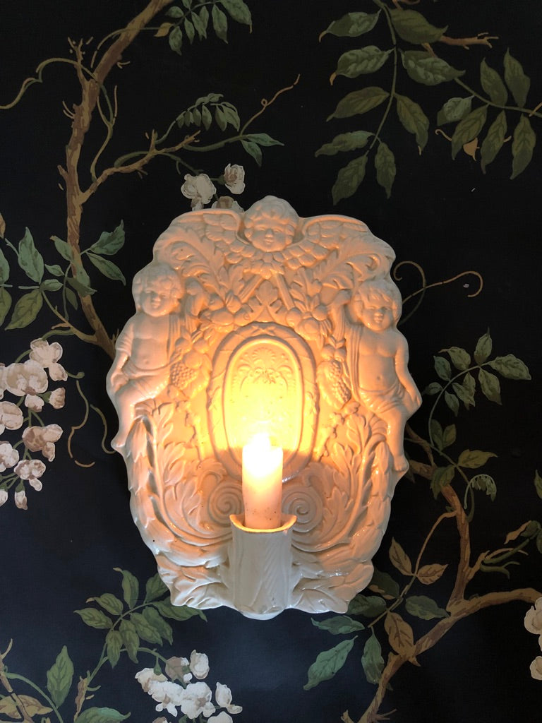 Creamware Candle Sconce