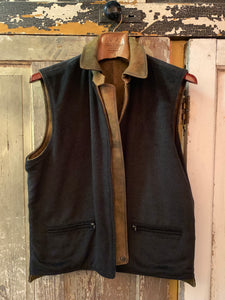 Quilted Stitch Reversible Brushed Leather Vest