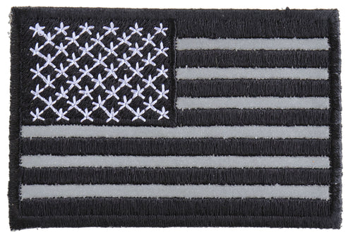 Black White and Reflective US Flag Patch