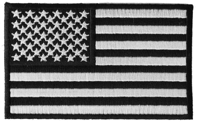 US Flag Black White Patch 4 Inch