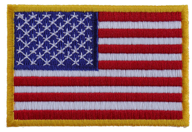 US Flag Patch Small Yellow Border 3 Inch