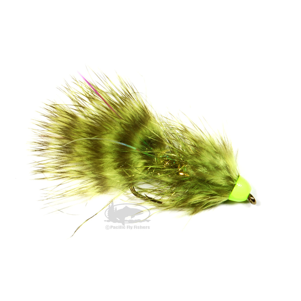 TDF Hot Cone Wooly Bugger - Chartruse - Streamer Fly