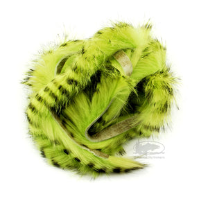Black Barred Magnum Rabbit Strips - Chartreuse - Fly Tying Materials