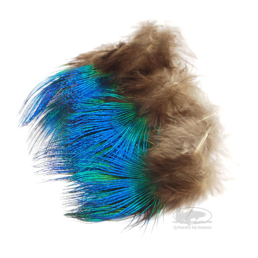 Blue Peacock Neck Feathers - Fly Tying Materials
