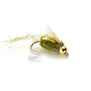 Caddis Sparkle Pupa - Olive - Bead Head