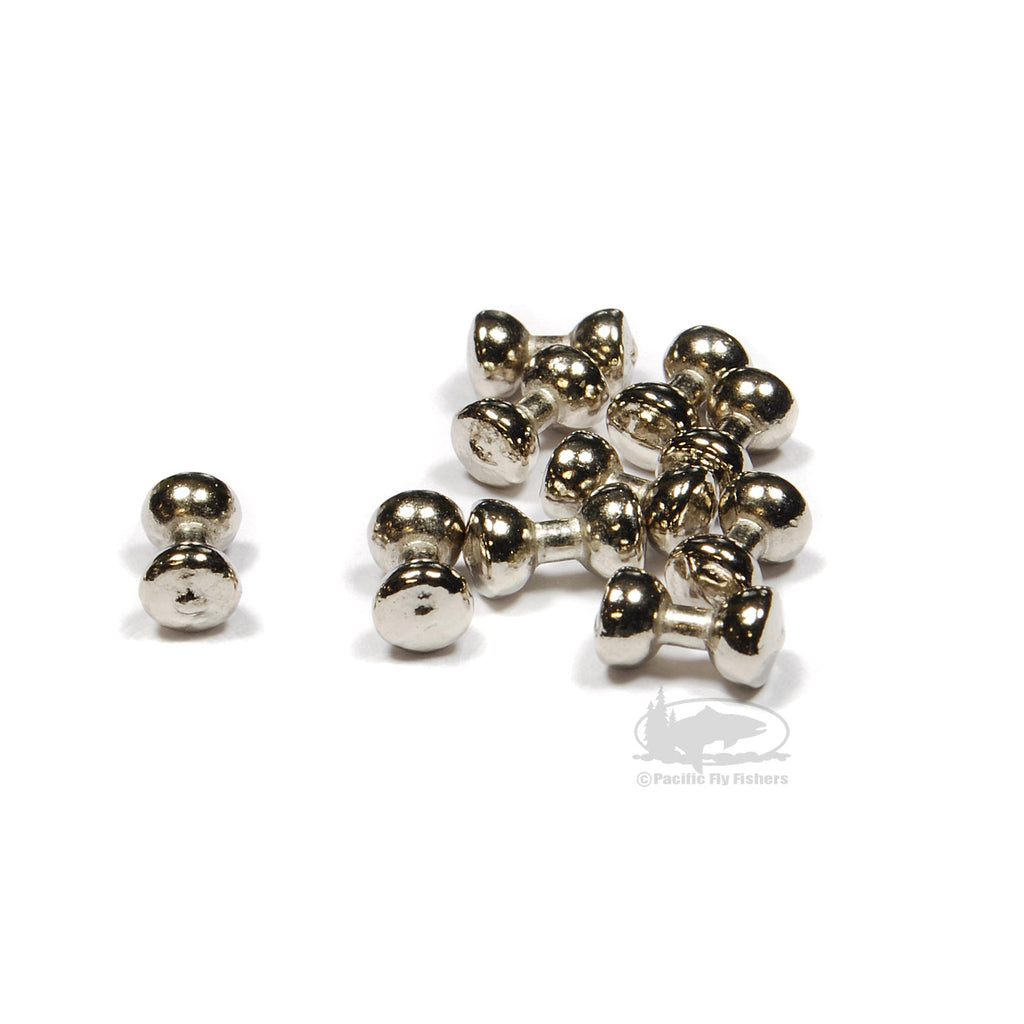 Lead Dumbbell Eyes - Nickel Silver Plated - Fly Tying Materials