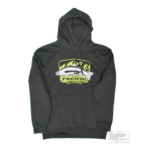 Pacific Fly Fishers Fly Fishing Store - Flyshop - Hoody - Charcoal with Green Logo