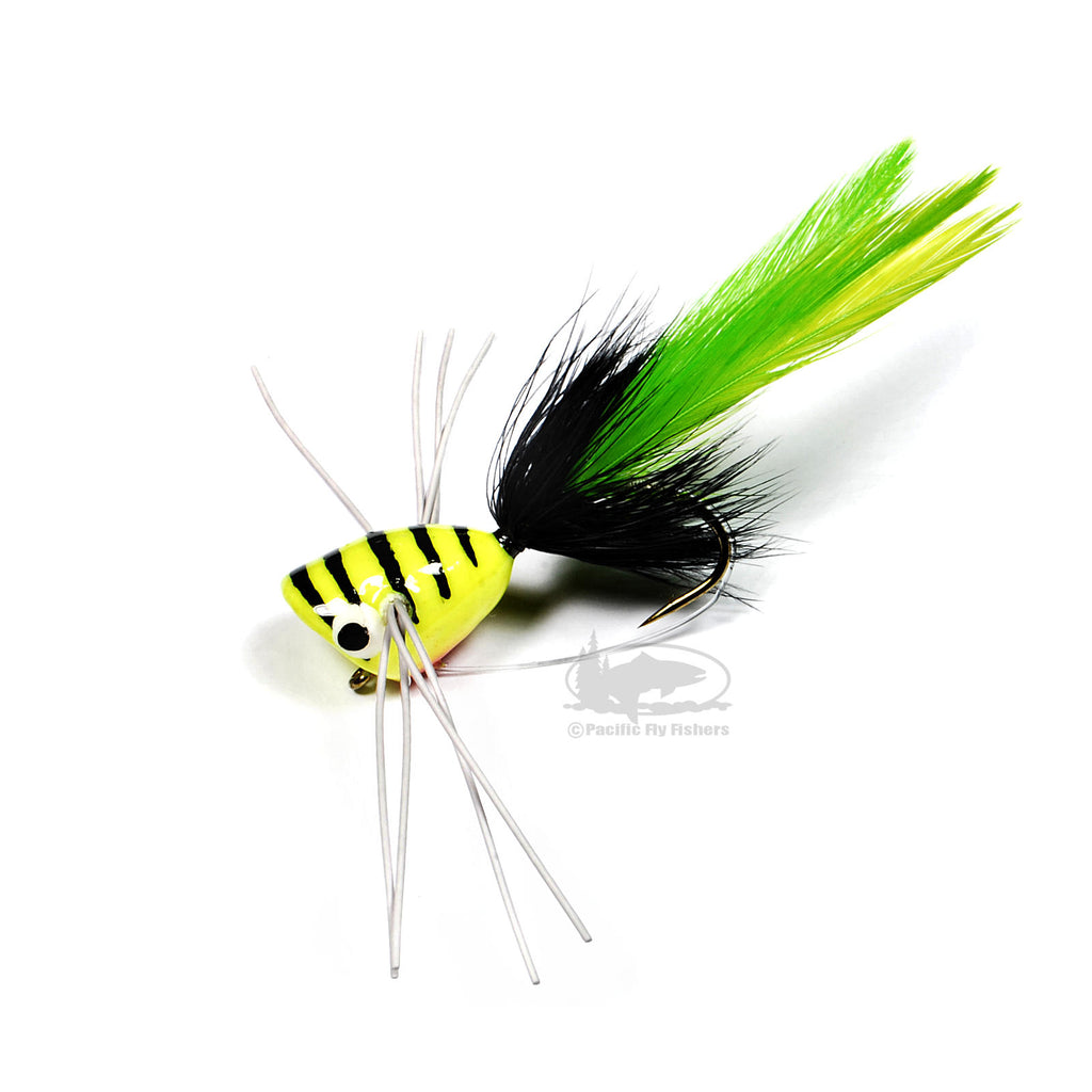 Popper with Rugger Legs - Chartreuse - Bass Popper Flies