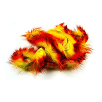 Tiger Barred Magnum Rabbit Strips - Orange / Black over Fl Yellow Chartreuse