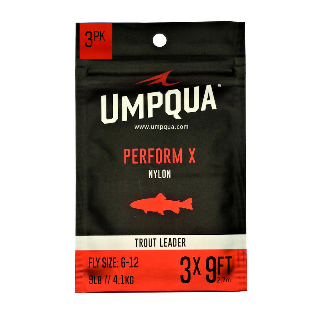 Umpqua Perform X Trout Leaders - 3-Pack - Nylon Fly Fishing Leaders