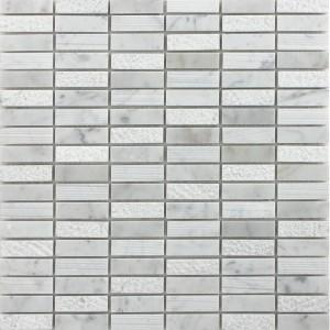 "Ames Tile 5/8"" x 2"" Stacked Mosaics / Bianco Carrara Rockford Marble - Tile"