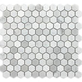 "Ames Tile 1"" x 1"" Hexagon Mosaics / Bianco Carrara Rockford Marble - Tile"