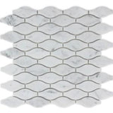 "Ames Tile (12½""x 12½"" Teardrop Mosaics / Bianco Carrara Rockford Marble - Tile"