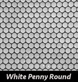 Regina Hardwood Flooring Center Backsplash 3/4 Penny Rounds - White - per SqFt Porcellanato - Tile