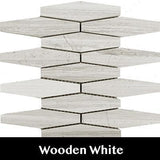 Wooden White Rhombo Mosaic Tile, Wall Tile, Floor Tile, Backsplash Tile and Accent Tile 5x1-3/8