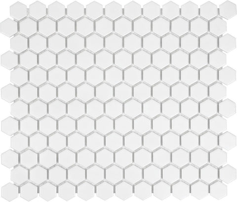 "Regina Hardwood Flooring Center Tile 1"" x 1"" White - per SqFt Soho Hexagon - Tile"