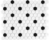 "Regina Hardwood Flooring Center Tile 1"" x 1"" White with Black Dot - per SqFt Soho Hexagon - Tile"
