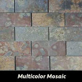 "Regina Hardwood Flooring Center Tile 2"" x 4"" Multicolor Mosaic - per SqFt Brazilian Slate - Tile"