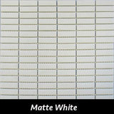 "Regina Hardwood Flooring Center Tile 5/8"" x 1 7/8"" Matte - White - per SqFt Studio Glass - Tile"