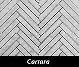 "Regina Hardwood Flooring Center Tile 5/8"" x 4"" Mosaic - Carrara - per SqFt Herringbone - Tile"