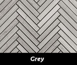 "Regina Hardwood Flooring Center Tile 5/8"" x 4"" Mosaic - Grey - per SqFt Herringbone - Tile"