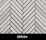 "Regina Hardwood Flooring Center Tile 5/8"" x 4"" Mosaic - White - per SqFt Herringbone - Tile"