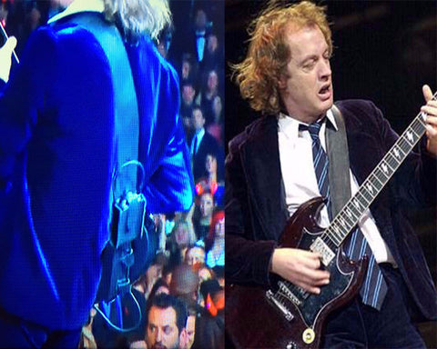 ANGUS YOUNG and AC/DC LEATHER GUITAR STRAP