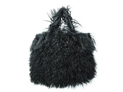 Black Mongolian Sheep Wool Bag