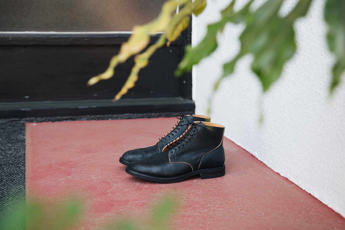 Service Boot Tumbled Black Shell Cordovan