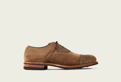 bastion oxford bison calf suede dainite sole folded cap toe brown french binding tan kip lining
