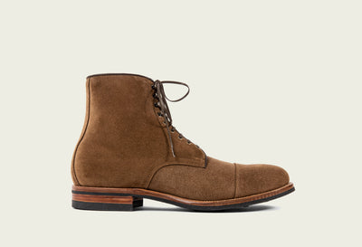 halkett boot bison calf suede brown french binding tan kip lining folded toe cap dainite sole 2020 last