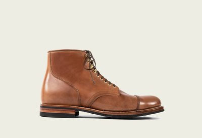service boot natural shell cordovan 2030 folded cap toe brass eyelets & speedhooks dainite sole