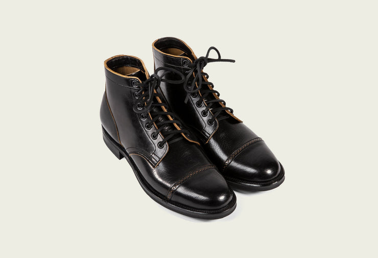 service boot shinki black horsebutt brogue toe cap black midsole black dainite sole