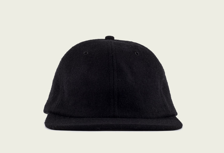 Six Panel Cap Black Wool