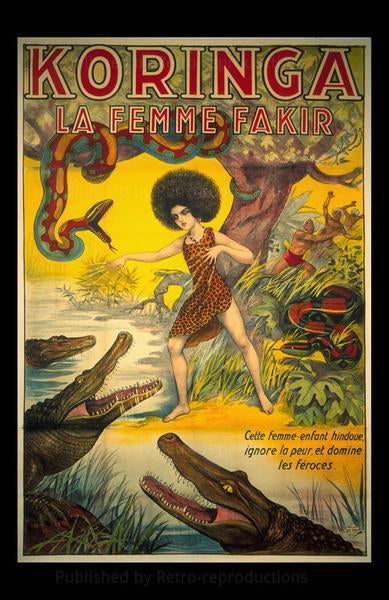 Koringa - French Woman Magician-Vintage Art, canvas prints, movie posters, photographic prints, posters, art prints, original movie posters, advertising posters,
