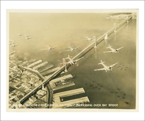 B-18A Aircraft Formation passing over Bay Bridge - WWII, photographic print - Vintage Art, canvas prints