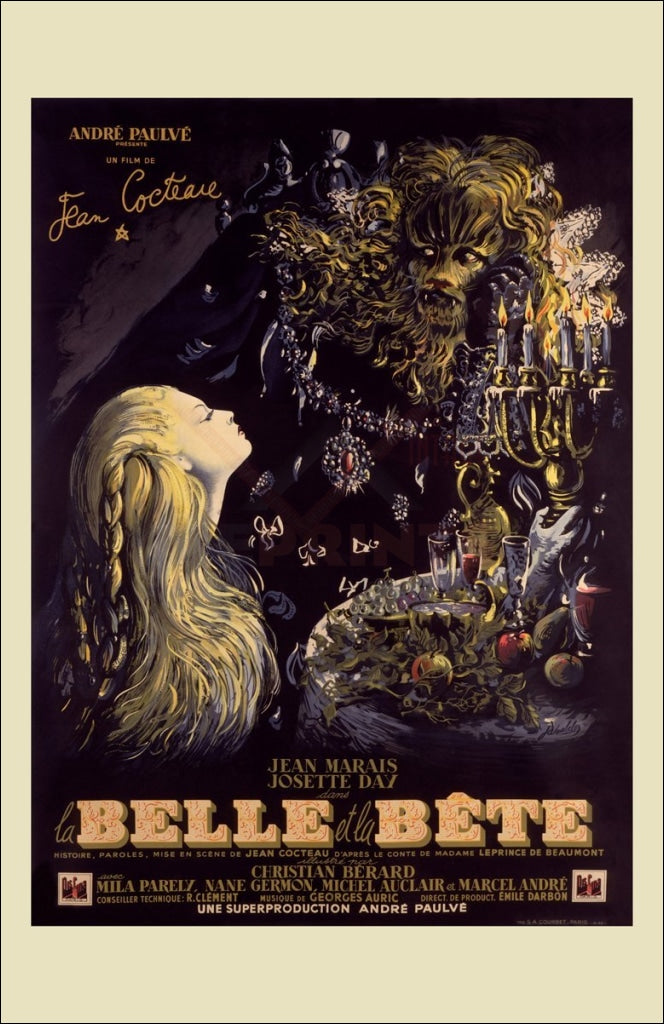 BEAUTY AND THE BEAST MOVIE POSTER Jean Marais VINTAGE