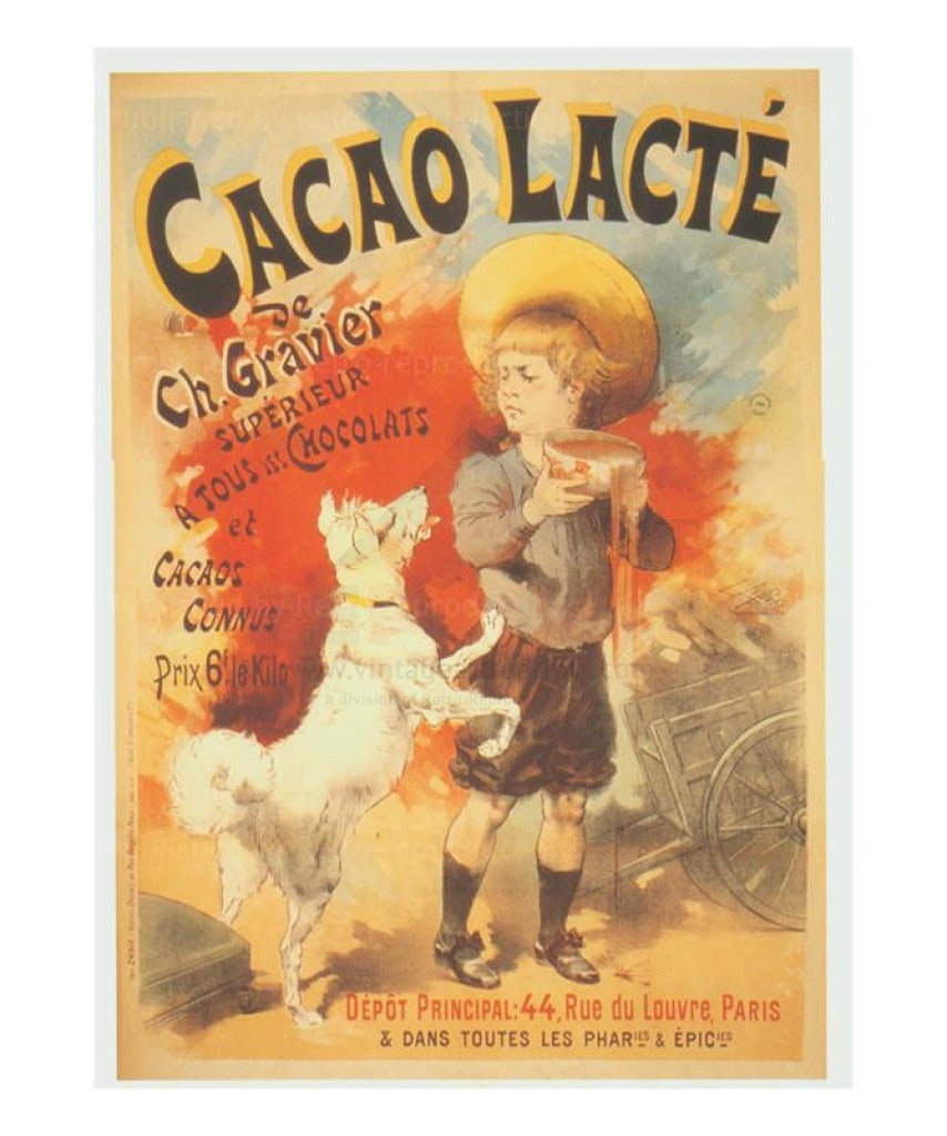 Cacao Lacte,  French advertising poster reproduction - Vintage Art, canvas prints