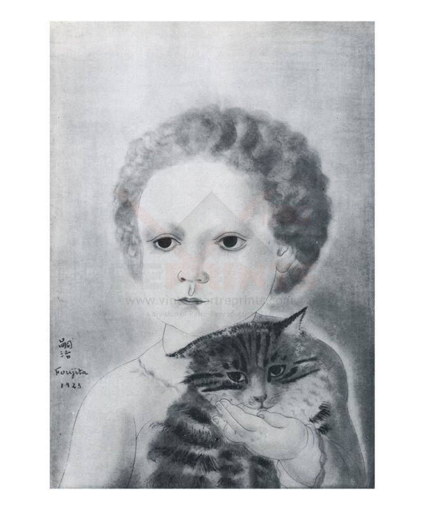 Enfant et son chat, 1923 - Fougita - Vintage Art, canvas prints