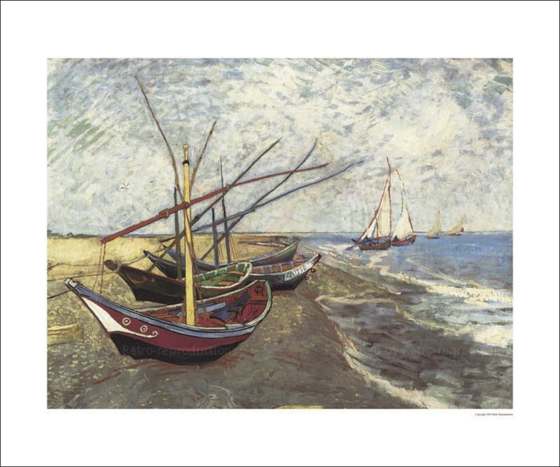 Fishing Boats on Beach at St-Maries - Vintage Art, canvas prints