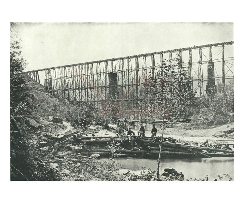 Chattanooga Railroad on Falling Water Bridge, American Civil War, Photographic Print - Vintage Art, canvas prints