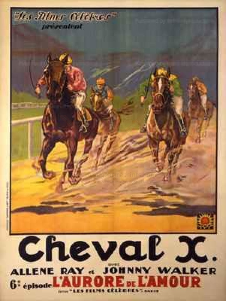 Cheval X - Original Movie Poster from silent serial movie, circa 1920 - Vintage Art, canvas prints